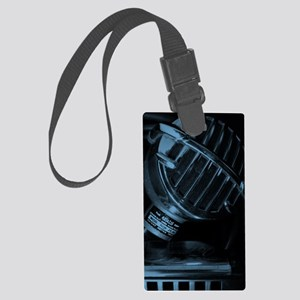 Blue Blues Harp and Microphone Large Luggage Tag