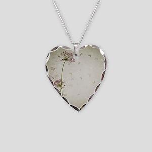 Vintage Floral Necklace Heart Charm