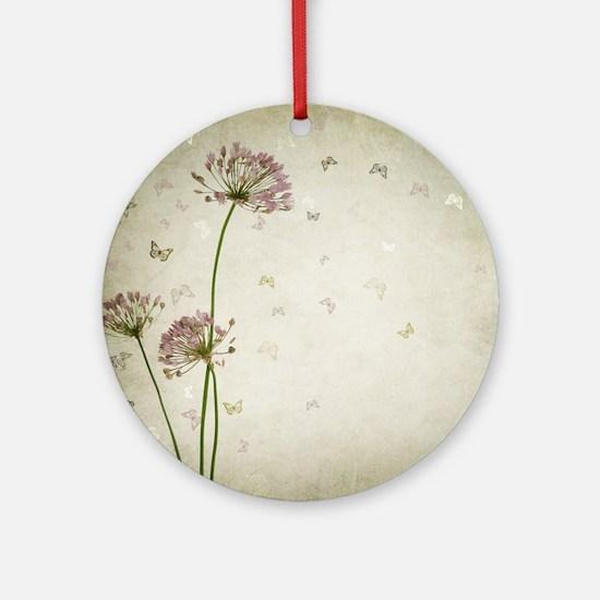 Vintage Floral Round Ornament