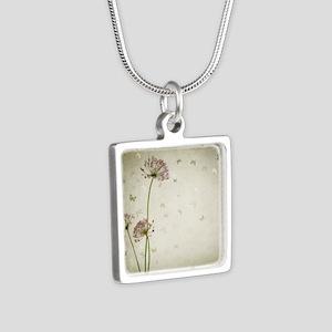 Vintage Floral Silver Square Necklace