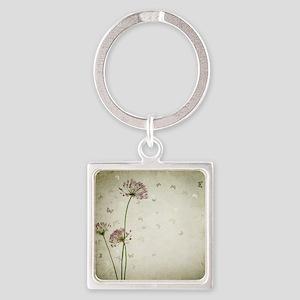Vintage Floral Square Keychain