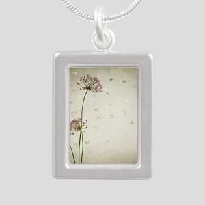 Vintage Floral Silver Portrait Necklace