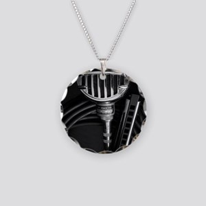 Harmonica and Vintage Microp Necklace Circle Charm