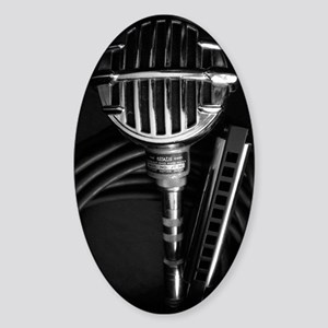 Harmonica and Vintage Microphone Sticker (Oval)