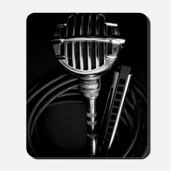 Harmonica and Vintage Microphone Mousepad