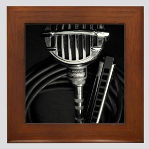 Harmonica and Vintage Microphone Framed Tile