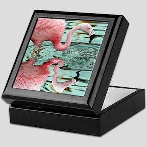 Pink Flamingo Reflection Keepsake Box