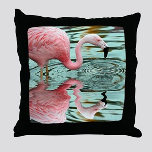 Pink Flamingo Reflection Throw Pillow