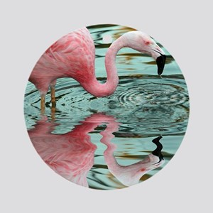 Pink Flamingo Reflection Round Ornament