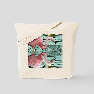 Pink Flamingo Reflection Tote Bag