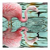 Flamingo Square Car Magnets