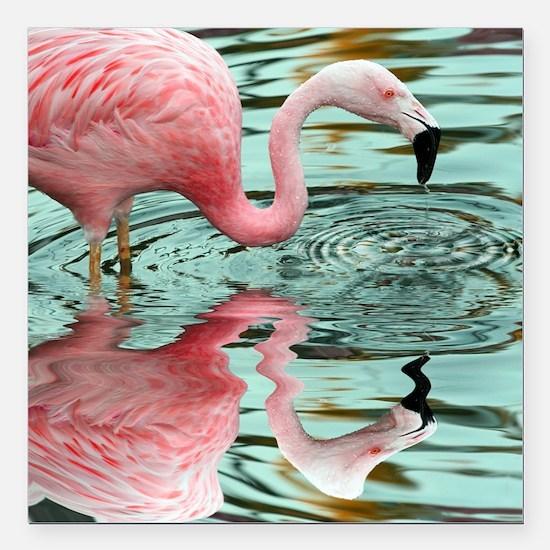 "Pink Flamingo Reflection Square Car Magnet 3"" x 3"""