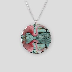 Pink Flamingo Reflection Necklace Circle Charm
