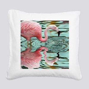 Pink Flamingo Reflection Square Canvas Pillow