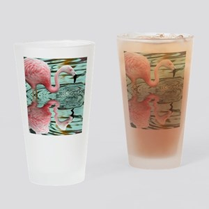 Pink Flamingo Reflection Drinking Glass