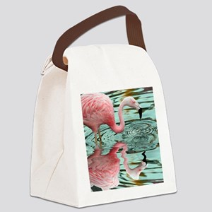 Pink Flamingo Reflection Canvas Lunch Bag