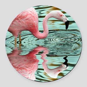 Pink Flamingo Reflection Round Car Magnet