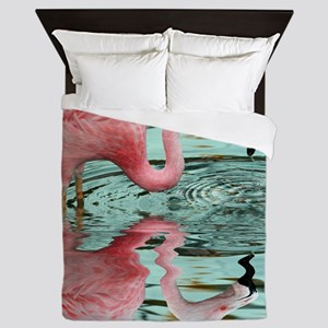 Pink Flamingo Reflection Queen Duvet