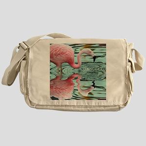 Pink Flamingo Reflection Messenger Bag