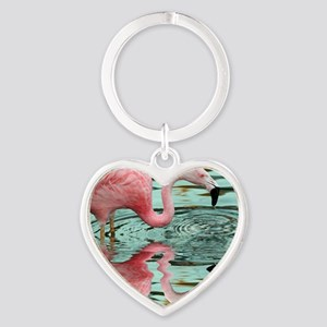 Pink Flamingo Reflection Heart Keychain