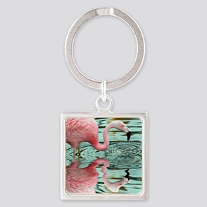 Pink Flamingo Reflection Square Keychain