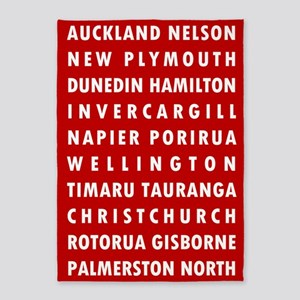 Red NZ Cities 5'x7'Area Rug