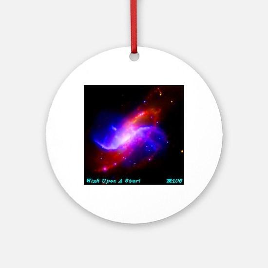 M106 Spiral Galaxy Round Ornament
