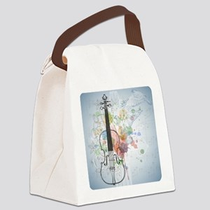 Violin, music sheets, flying dove Canvas Lunch Bag
