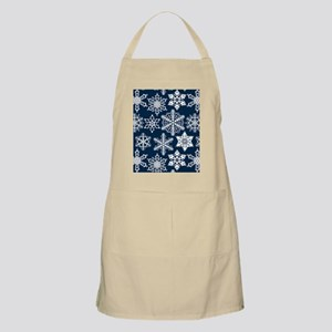 Crochet snowflakes seamless pattern on dark  Apron