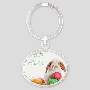 Easter Bunny Oval Keychain