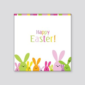 "Easter Rabbits Square Sticker 3"" x 3"""