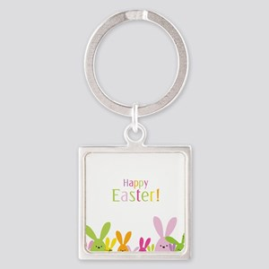 Easter Rabbits Square Keychain
