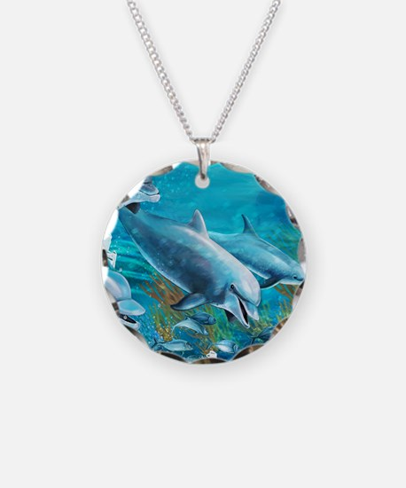 Beautiful Dolphin Painting Necklace