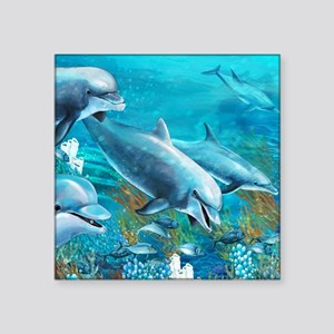 "Beautiful Dolphin Painting Square Sticker 3"" x 3"""