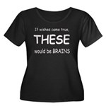 Brains Women's Plus Size Scoop Neck Dark T-Shirt