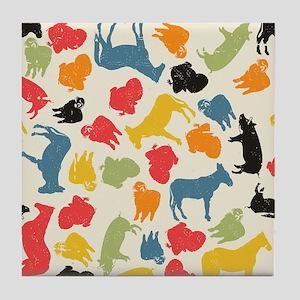 Farm Animals Seamless Pattern Tile Coaster