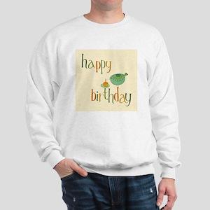 Greeting Birthday Card With Cute Bird A Sweatshirt