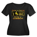 Ride a Cowboy Women's Plus Size Scoop Neck Dark T-