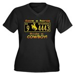 Ride a Cowboy Women's Plus Size V-Neck Dark T-Shir