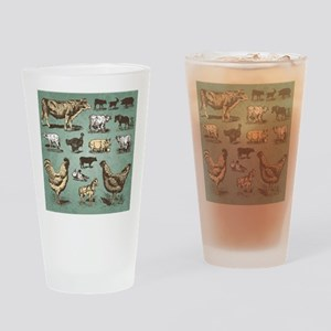 farm animals vintage set (vector) Drinking Glass
