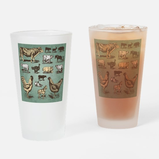 farm animals vintage set (vector) Drinking Glass