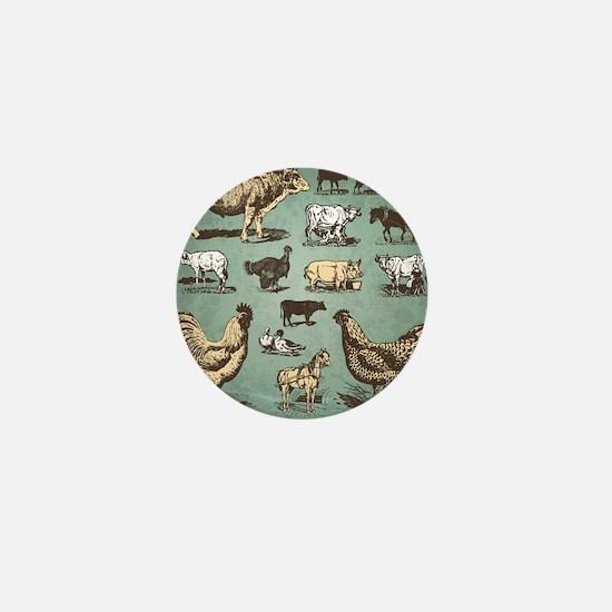 farm animals vintage set (vector) Mini Button