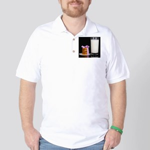 Glass of milk and cookies isolated on b Golf Shirt