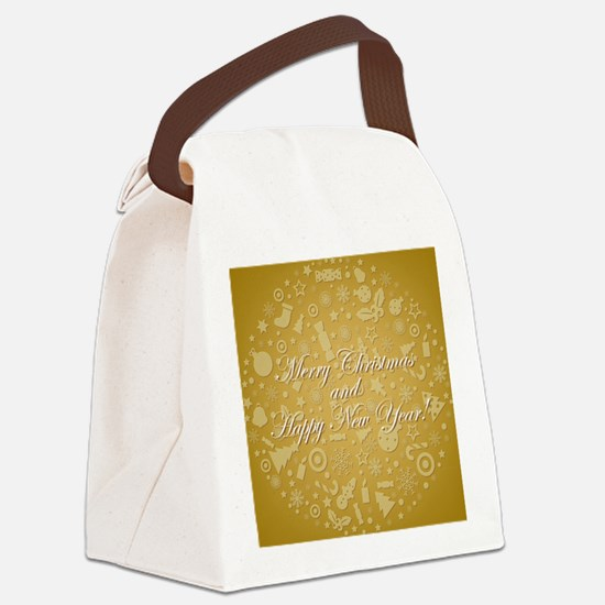 Golden Stylized Sphere From Icons Canvas Lunch Bag