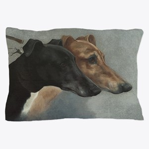 Greyhounds On Leash Pillow Case