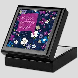 Happy birthday postcard seamless flow Keepsake Box