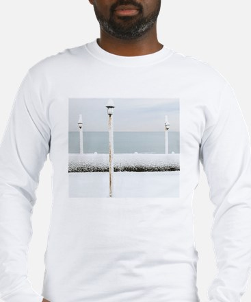 Lamp Covered By Snow On Ocean  Long Sleeve T-Shirt