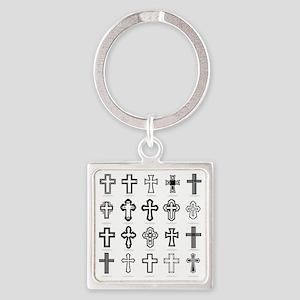 Set Crosses vector Square Keychain