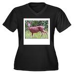 Doe in Grass Women's Plus Size V-Neck Dark T-Shirt