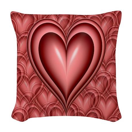 Pink Heart Woven Throw Pillow